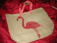 TROPICAL SUMMER PINK FLAMINGO BEACH BURLAP BAG, PURSE. TOTE,RECYCLE CARRY ALL