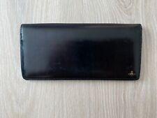 Vivienne Westwood Logo Japan Black Leather Vintage Bifold Zip Long Wallet Purse