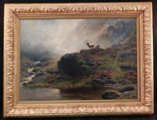 Antique Oil Painting~Charles Stuart (1854-1904)~Deer in the Scottish Highlands