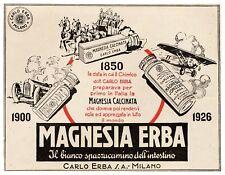 PUBBLICITA' 1929 MAGNESIA CARLO ERBA 1850 CARROZZA AEREO BIPLANO AUTO INTESTINO