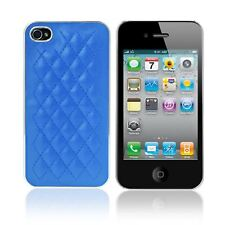 SOFT QUILTED PU LEATHER PLASTIC CHROME BACK COVER CASE FOR APPLE IPHONE 4S 4G 4