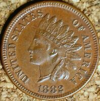 1882 Indian Head Cent - FANTASTIC AU - GREAT STRIKE and COLOR  (K934)