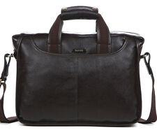"""Men Leather Briefcase Laptop Business Cases  Shoulder Messenger 14"""" Laptop Bag"""