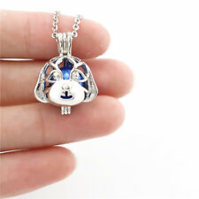 K689 Pet Dog Pearl Cage Locket Puppy Head Pendant Necklace 18""