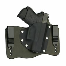 FoxX Leather & Kydex IWB Glock 26, 27 & 33 Hybrid Holster Black Right Tuckable