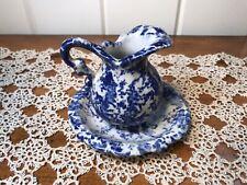Vintage Ceramic Mini Pitcher And Basin Set Blue & White