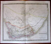 South Africa large c.1828 S. Hall engraved hand color old map detailed Hottentot