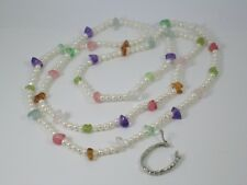 Long Freshwater Pearls & Multi-Coloured Semi-Precious Necklace