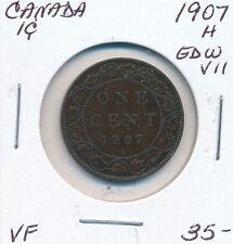 CANADA 1 CENT 1907 H  EDWARD VII -  VF