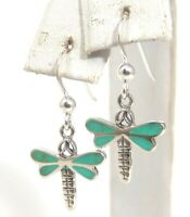 Sterling Silver Dragonfly Dangle Earrings Turquoise