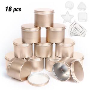 16pcs Gold Empty Tin Jars DIY Candle Making Storage Case Organizer Gift Xmas