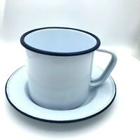 Enamel Large Mug Coffee Cup Camping Colored Rim White Traditional Vintage Style