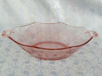 Pink Depression Glass Two Handled Bowl w/Etched Flower Pattern