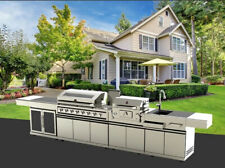 New Outdoor BBQ Kitchen Grill Island Stainless Gas Wood Grill Refrigerator Sink