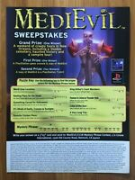 MediEvil PS1 Playstation 1 1998 Vintage SWEEPSTAKES Poster Ad Art Print Medieval