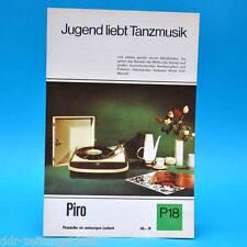 Piro Phonokoffer DDR 1968   Prospekt Werbung Werbeblatt DEWAG P18 D