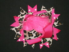 "NEW ""HOT PINK LEOPARD POOF"" Fur Hairbow Alligator Clips Girls Ribbon Bows 4.5 In"