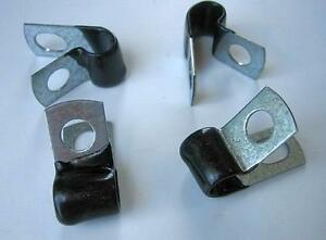 """1/4"""" Insulated Hose Line Clamps Brake Line Clamps Closed Clamps Brake Lines (12)"""
