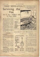 Fiat 10-12 hp 1938-39 & 12 hp 1939 Motor Trader Service Data No. 71 1939