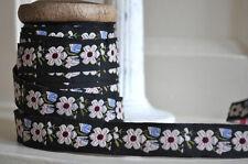 1M Danois Style Vintage Ruban NOIR/VERT/BLEU/ROSE Guirlande des fleurs