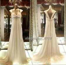 Simple Empire Pregnant Wedding Dresses Maternity Bead Beach Bridal Gowns Custom