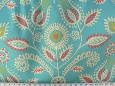 Drapery Upholstery Fabric Water Repellent Cotton Twill Abstract Leaf Vine - Teal