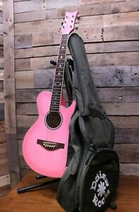 Daisy Rock Wildwood Model 6260 Pink Short Scale Acoustic Guitar w/ gig bag