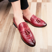 Mens Brogue Tassels Pointed Toe Casual Shoes Dress Formal Slip On Loafers Retro