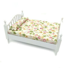 Dollhouse Bedroom Wooden Floral Queen Bed 1:12 Miniature Furniture Double Bed