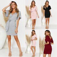 Women's Bodycon V-Neck Belted Wrap Mini Dress Holiday Short Sleeve Beach Dress