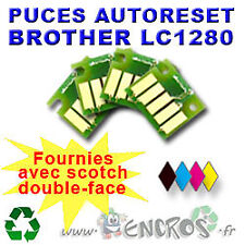 RECHARGEABLE Lot de 4 Puces Auto-Reset COULEUR+NOIR BROTHER LC1280