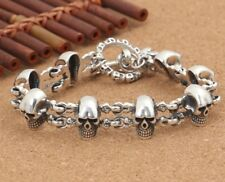 55.5g 925 Sterling Silver  skull link biker retro bracelet bangle jewelry S948
