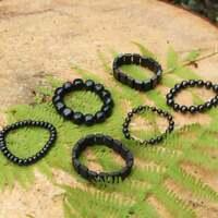 Shungite Bracelet Polished Beads EMF Protection Chakra Balancing Jewelry