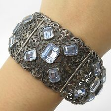 Antq Europe 925 Sterling Silver Real Blue Topaz Gemstone Wide Handmade Bracelet