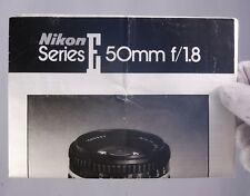 Nikon Lens Series E 50mm f/1.8 Instruction Guide (EN) genuine owner's manual