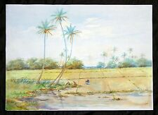 "Early Hawaii Watercolor Painting ""Rice Planting under Palms"" signed A.F. (Geo)"