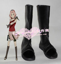 Naruto Shippuden Haruno Sakura Black Ninja Long Cosplay Boots Shoes H016