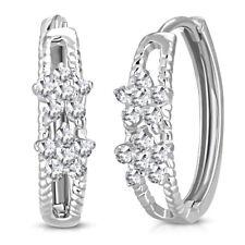925 Sterling Silver White Clear CZ Small Hoop Huggies Earrings