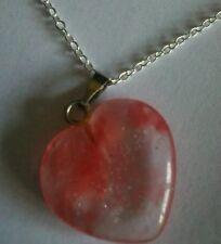 Watermelon Rose Quartz pendant Crystal heart.Sterling silver chain.UK SELLER.NEW