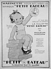 PUBLICITÉ 1932 PETIT BATEAU CULOTTE ET SOUS-VÊTEMENTS - MARINETTE - ADVERTISING