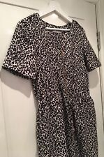 Ladies M&S WOMAN zip up Leopard Print draw waist Tea Dress Size 8 Boho Vintage