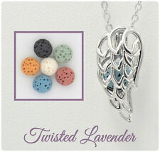 Angel Wing Aromatherapy Essential Oil Necklace Diffuser with 6 lava stones!