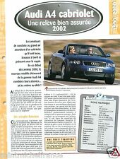 Audi A4 Cabriolet V6 2002 Germany Deutschland Car Auto Voiture FICHE FRANCE