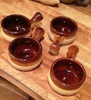 "Vintage set of 4 Mini 3"" Bowls with 2"" Handle Brown Tan Stoneware Glazed"