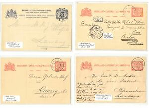 DUTCH INDIES NED INDIE-1909/10 4 x PS CARD GR POSTMARKS - SvL 155 P. --F/VF
