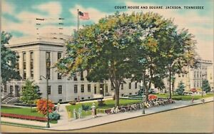 Court House and Square Jackson TN Exterior Vintage 1951 Linen Postcard - Posted