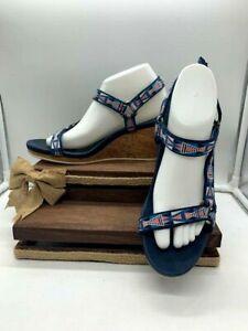 Womans Teva Blue/Pink Hook Loop Strap Cork Wedge Heel Sandals Size 10