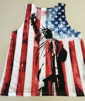 BKC Brooklyn Mens Size Large Statue of Liberty Tank Top TShirt Red White Blue