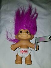 "Vintage Baby Russ Troll 3"" Figure Pink Hair.  1994, Happy New Year"