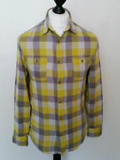 W17 MENS LEE COOPER YELLOW WHITE CHECK FLANNEL PLAID COTTON SHIRT S 36